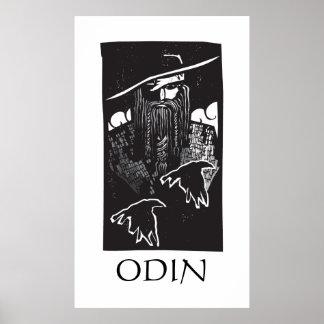 2羽のワタリガラスを持つNorseの神Odin ポスター