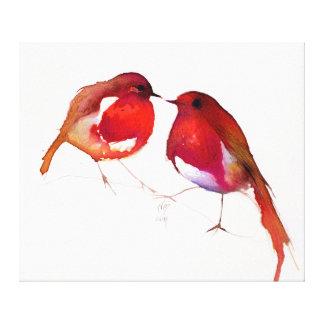 2羽の少しインク鳥2014年 キャンバスプリント