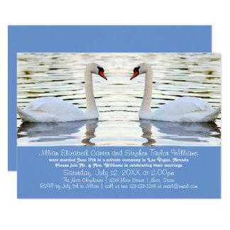 2羽の白鳥の写真-結婚式の発表 12.7 X 17.8 インビテーションカード