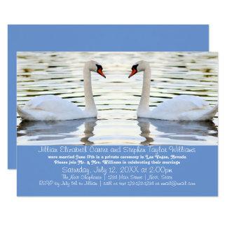 2羽の白鳥の写真- 3x5結婚式の発表 8.9 x 12.7 インビテーションカード