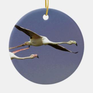 2羽の飛行より素晴らしいフラミンゴPhoenicopterus Roseus セラミックオーナメント