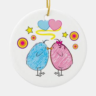2羽の鳥の接吻 セラミックオーナメント