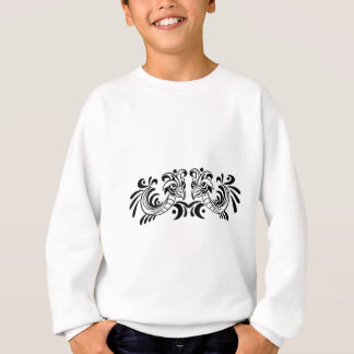 2羽の鳥の白黒デザイン スウェットシャツ