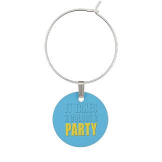 2色2のパーティーに黄色い青を取ります ワインチャーム
