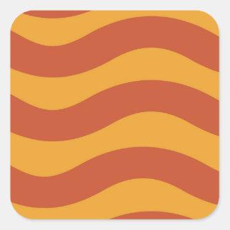 2調子のオレンジ波状は縞で飾ります スクエアシール