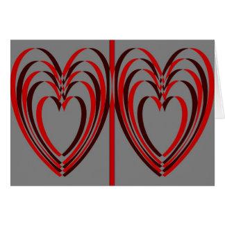 2赤くか黒いネスティングハートカード カード
