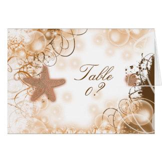 2配置をつけるビーチ結婚式のテーマの~のテーブル カード