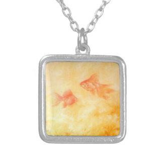 2金魚 シルバープレートネックレス
