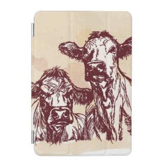 2頭の牛手の引くことのスケッチ及び水彩画のヴィンテージ iPad MINIカバー