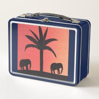 2頭の象が付いているお弁当箱 メタルランチボックス