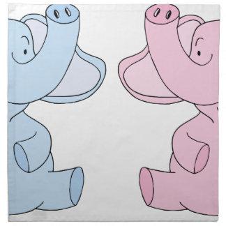 2頭の赤ん坊象 ナプキンクロス