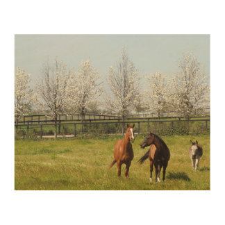 2頭の馬および春に牧草を食べているろば ウッドウォールアート