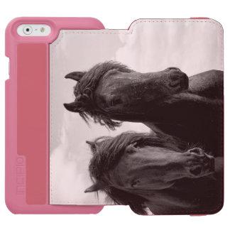 2頭のFriesianの種馬 iPhone 6/6sウォレットケース