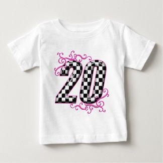 20人のチェッカーの旗数 ベビーTシャツ