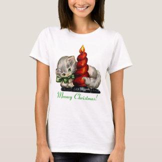 $20以下: Meowyのクリスマスのレトロの子ネコ Tシャツ
