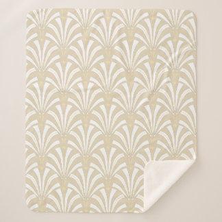 20年代のアールデコのエレガントで白い及びクリーム色のパルメット シェルパブランケット