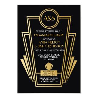20年代のアールデコの婚約パーティの招待のGatsbyの金ゴールド 12.7 X 17.8 インビテーションカード
