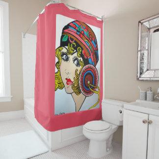 20年代のフラッパーの女の子 シャワーカーテン
