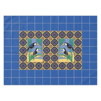 20年代のCatalinaの島のToucansのタイルのデザイン テーブルクロス