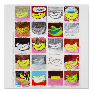 20本のバナナ3x3 ポスター