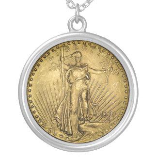 $20金貨のレプリカ シルバープレートネックレス