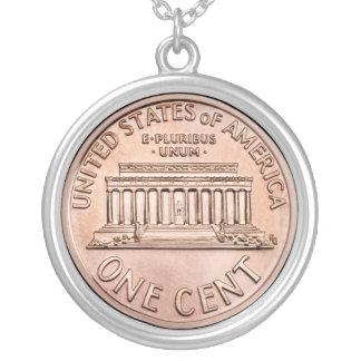 2005年のリンカーン記念館1つのセントの銅貨のお金 シルバープレートネックレス