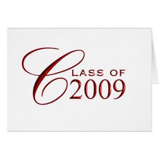 2009年卒業のクラス-中赤ブランクの カード