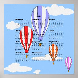 2011の気球のカレンダーポスター ポスター