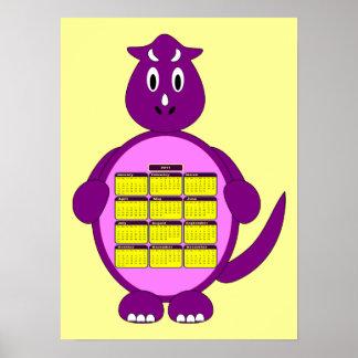 2011の紫色の恐竜のカレンダーポスター ポスター
