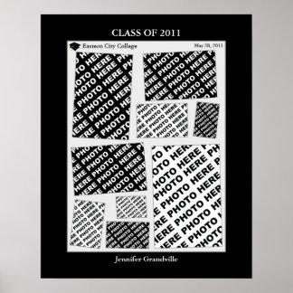 2011年の写真のコラージュの卒業のクラス1つのプリント ポスター