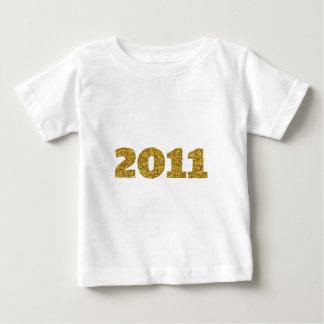 2011年の金ゴールドのグリッター ベビーTシャツ