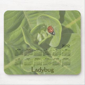 2012年のてんとう虫のカレンダーのマウスパッド マウスパッド