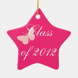 2012年のクラス-ピンクの蝶 セラミックオーナメント