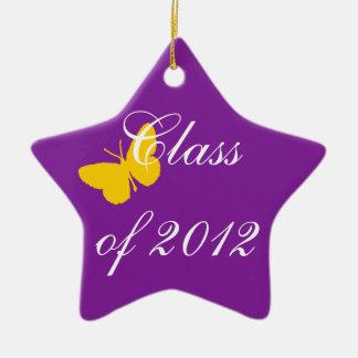 2012年のクラス-紫色および金ゴールド セラミックオーナメント