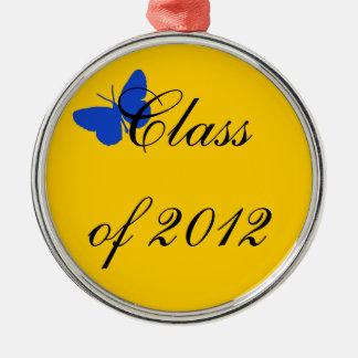 2012年のクラス-青および金ゴールドの蝶 メタルオーナメント