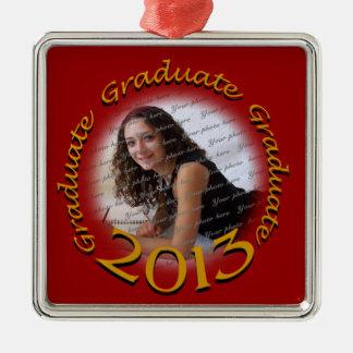 2013大学院の赤および金ゴールドの写真 シルバーカラー正方形オーナメント