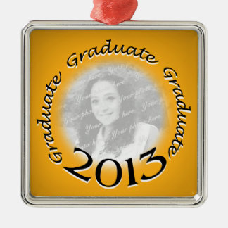 2013大学院の金ゴールドの写真 シルバーカラー正方形オーナメント