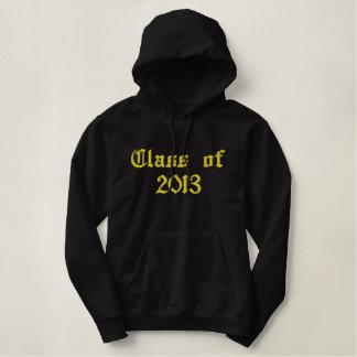 2013年のクラス-黒および黄色 刺繍入りパーカ
