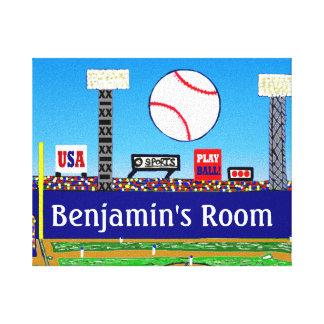 2013年の男の子の部屋の名前入りな野球の芸術のプリント キャンバスプリント