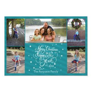 2014の5つの写真のクリスマスの休日カード青い縞 カード