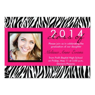 2014年の卒業の招待状のショッキングピンクのシマウマのクラス カード