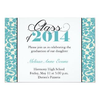 2014年の卒業の招待状のダマスク織のクラス 12.7 X 17.8 インビテーションカード