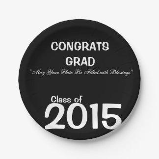 2015おめでとうの卒業生のお祝いのプレート ペーパープレート