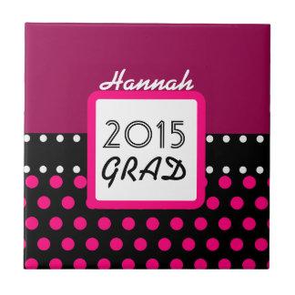 2015の年のカスタムなピンクの水玉模様A7のクラス タイル