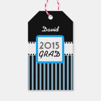 2015の年の名前をカスタムするの青い縞A4のクラス ギフトタグ