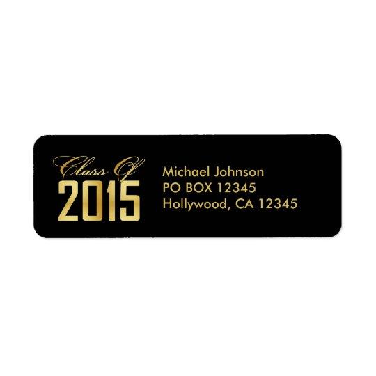2015年のエレガントな黒および金ゴールドのクラス 返信用宛名ラベル
