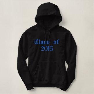 2015年のクラス-黒および青 刺繍入りパーカ