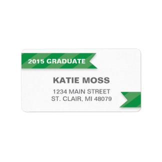 2015年の卒業の宛名ラベル|の緑 宛名ラベル