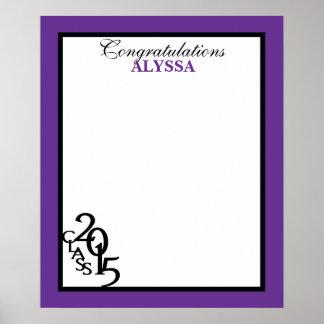 2015年の卒業の自筆の記念品の紫色のクラス ポスター