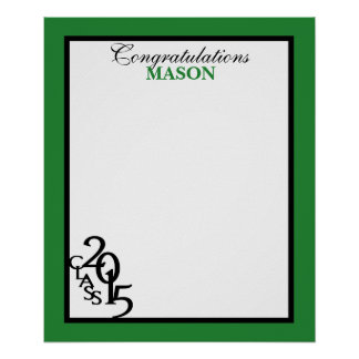 2015年の卒業の自筆の記念品の緑のクラス ポスター